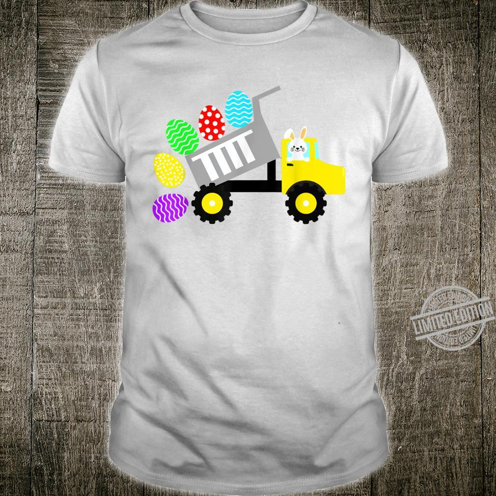 Bunny Easter Day Riding Construction Truck Eggs Easter Shirt