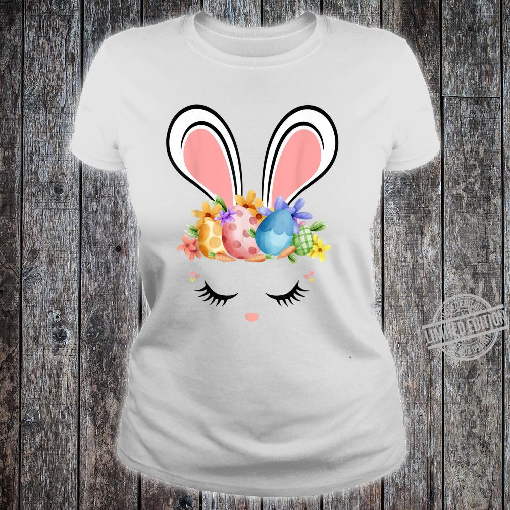 Bunny Face With Easter Eggs Cute Easter For Girls Shirt ladies tee