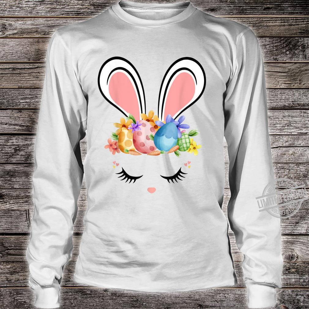 Bunny Face With Easter Eggs Cute Easter For Girls Shirt long sleeved