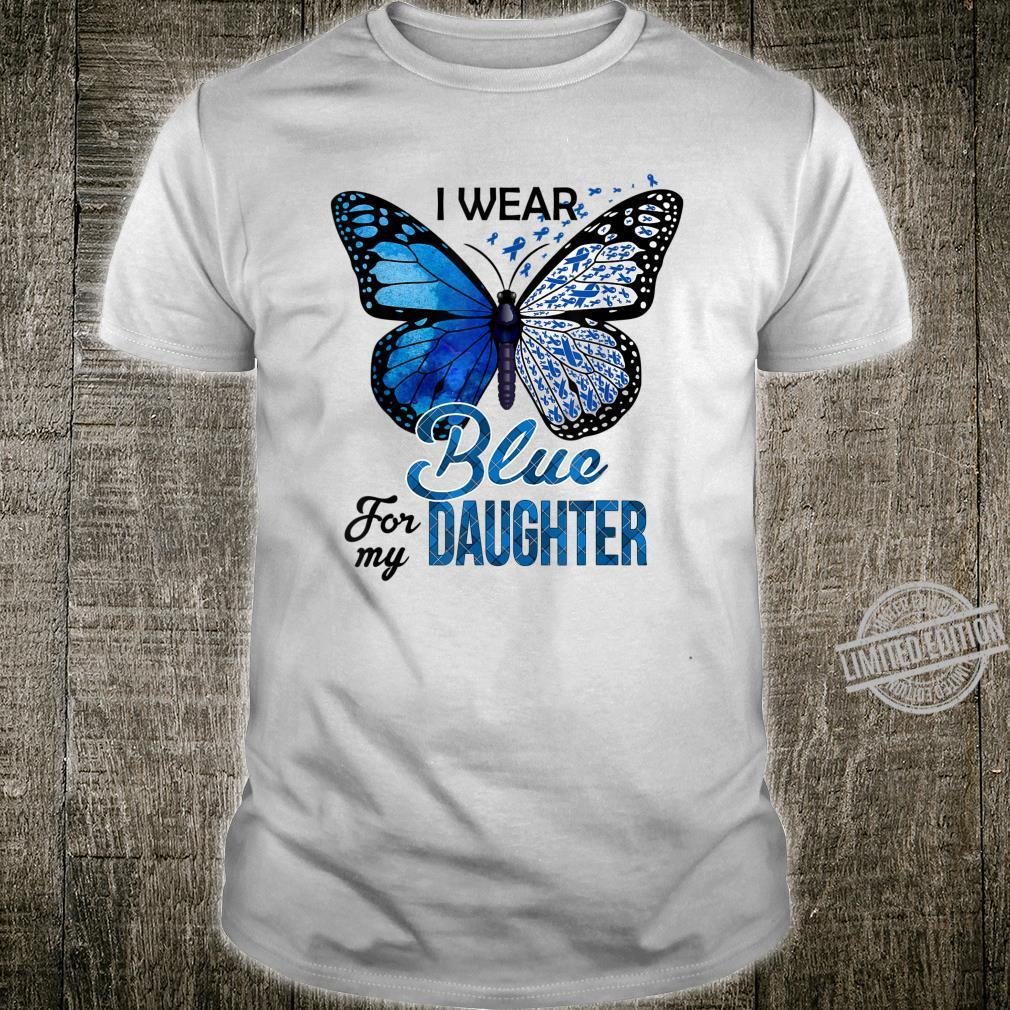 Butterfly I Wear Blue For Daughter Colon Cancer Awareness Shirt