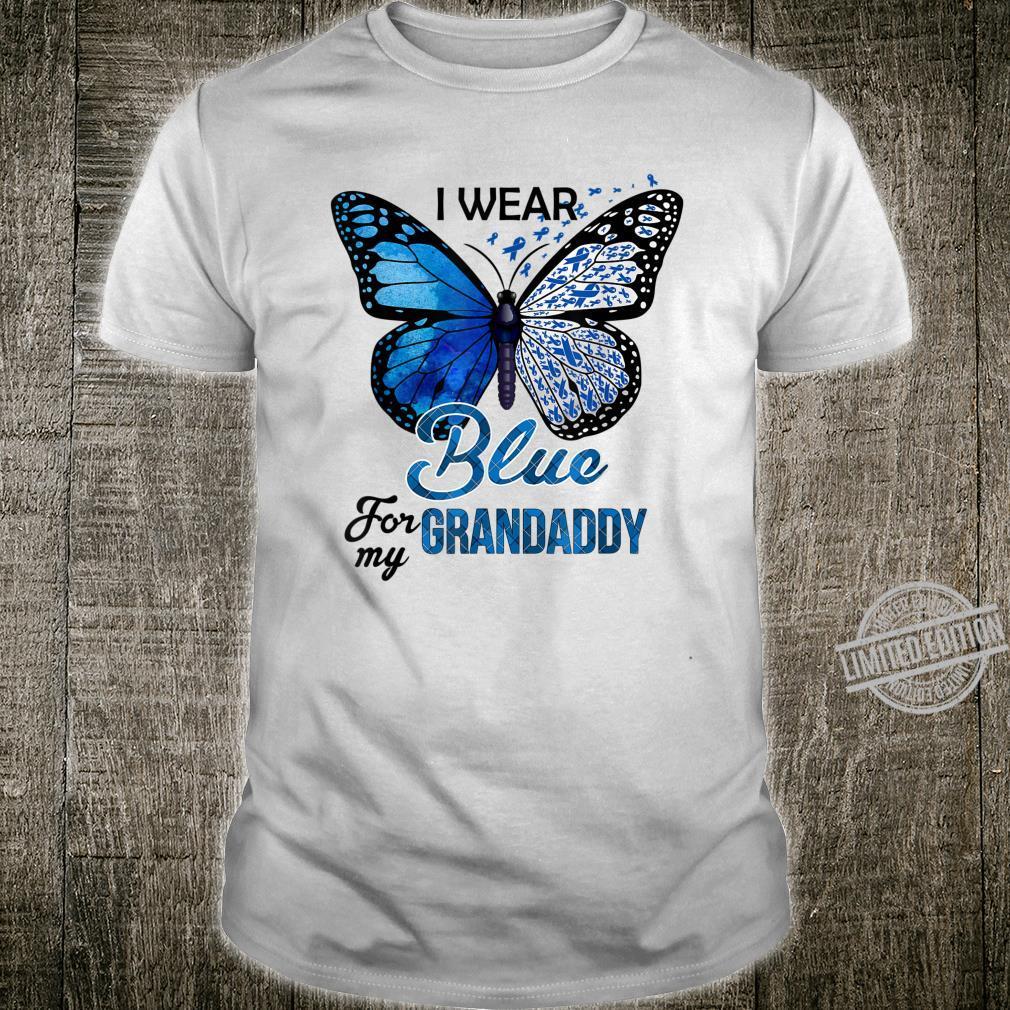 Butterfly Wear Blue For Grandaddy Colon Cancer Awareness Shirt
