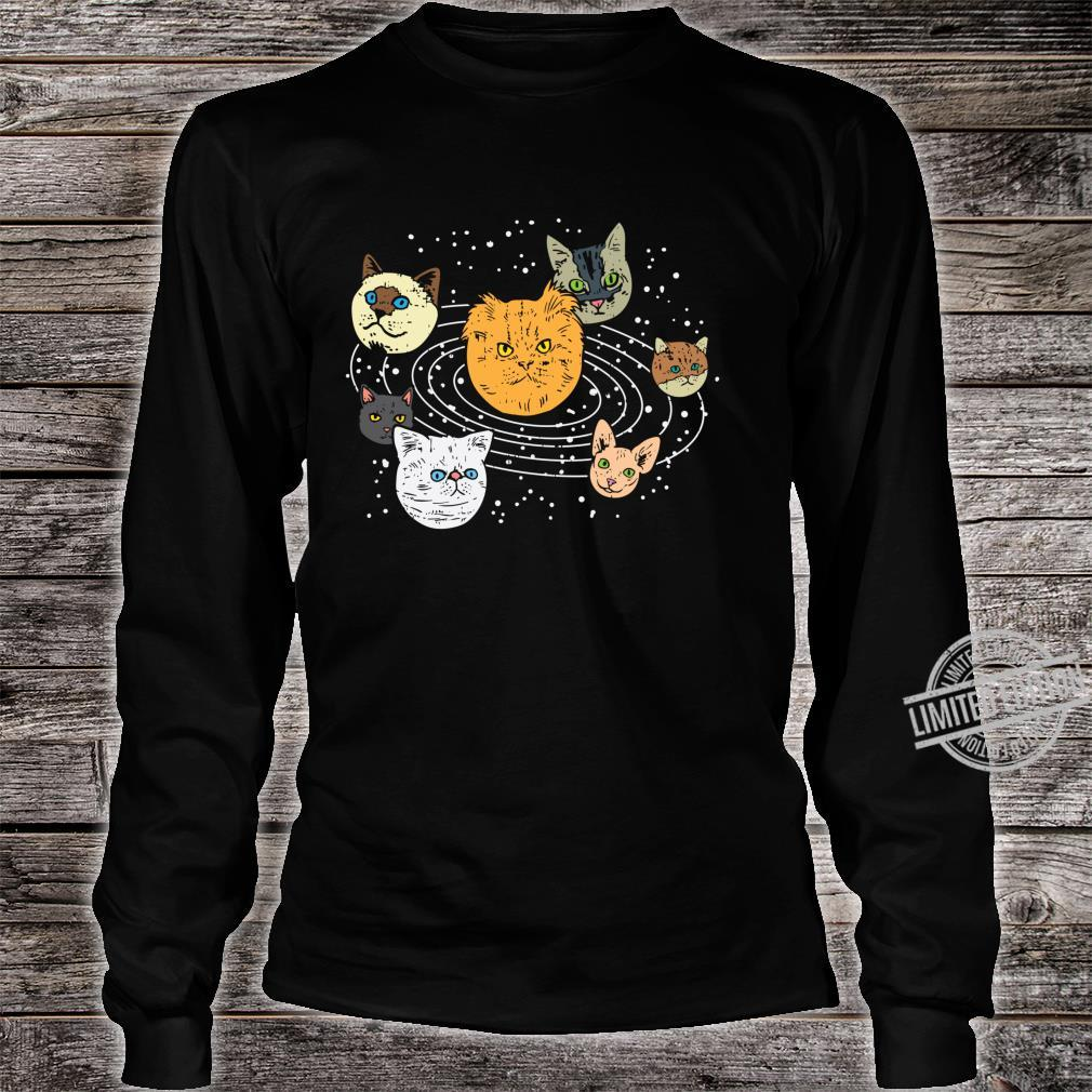 Cat Faces Planets Solar System Space Animals Pet Shirt long sleeved