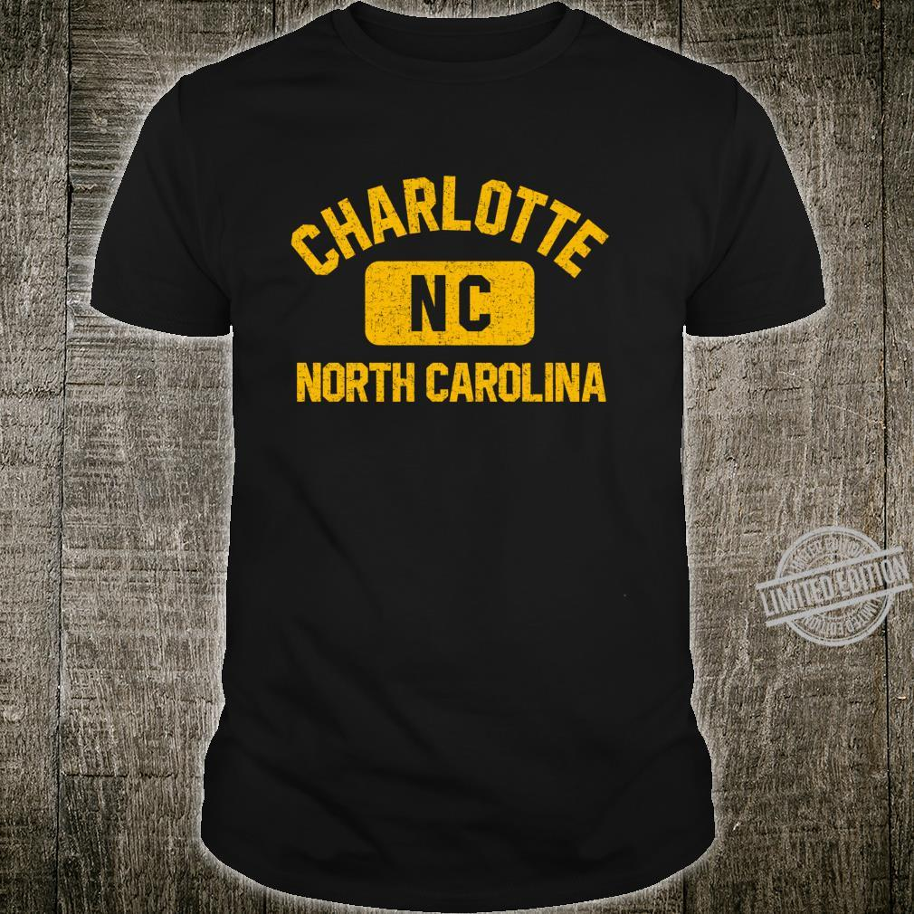 Charlotte NC Gym Style Distressed Amber Print Shirt