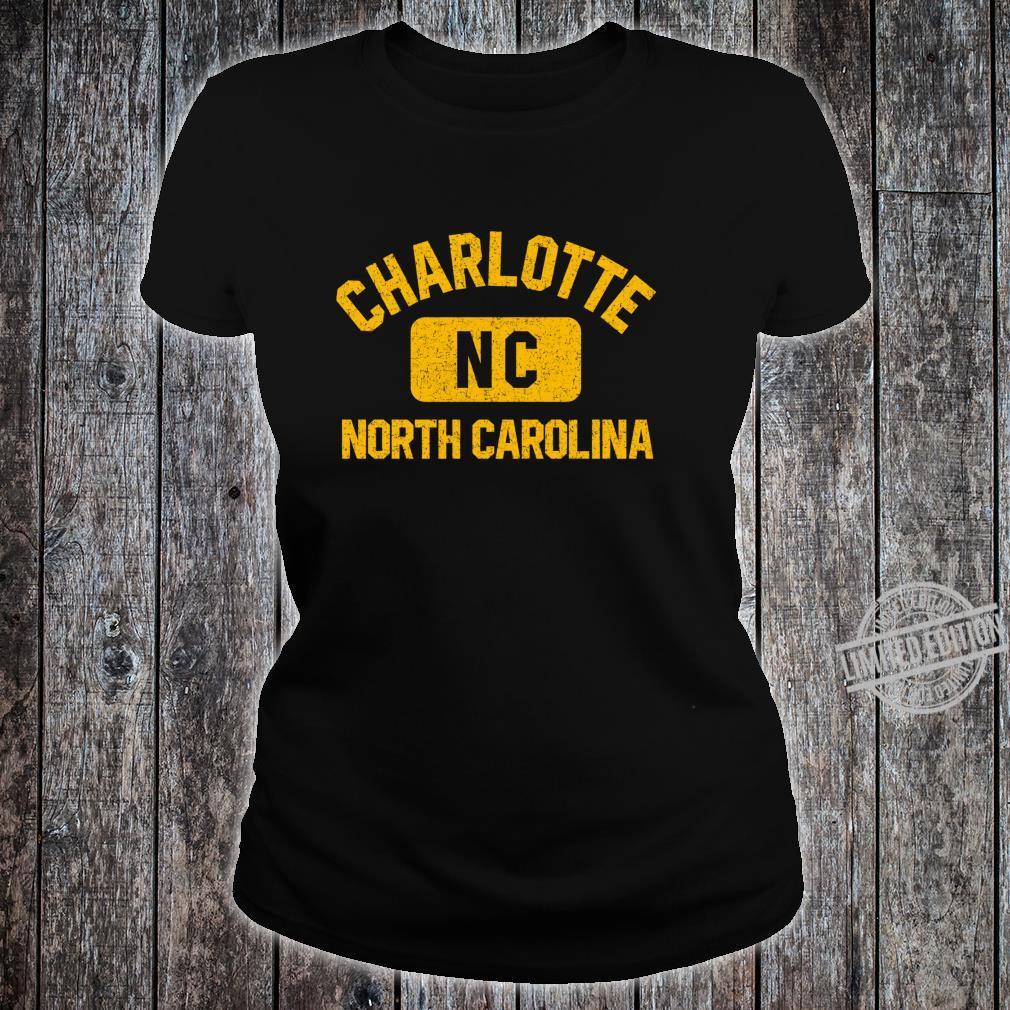 Charlotte NC Gym Style Distressed Amber Print Shirt ladies tee