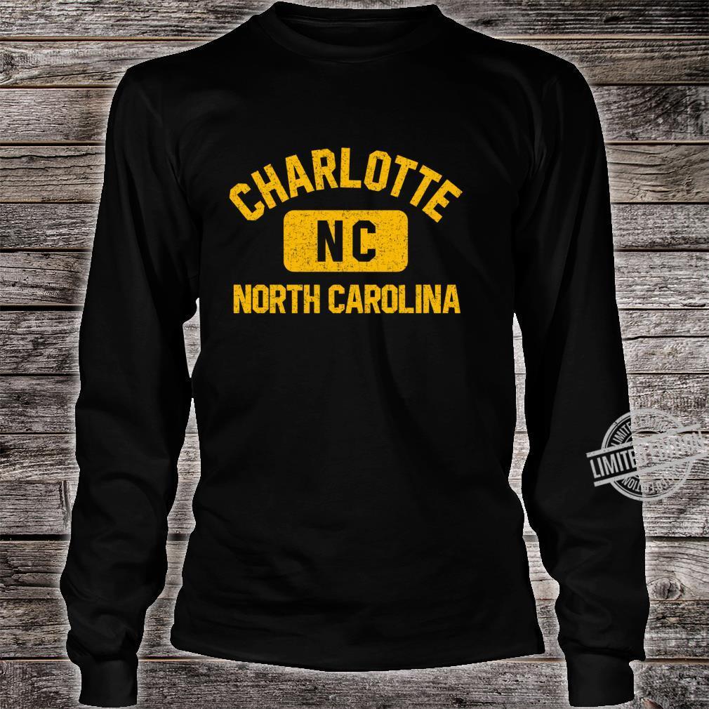 Charlotte NC Gym Style Distressed Amber Print Shirt long sleeved