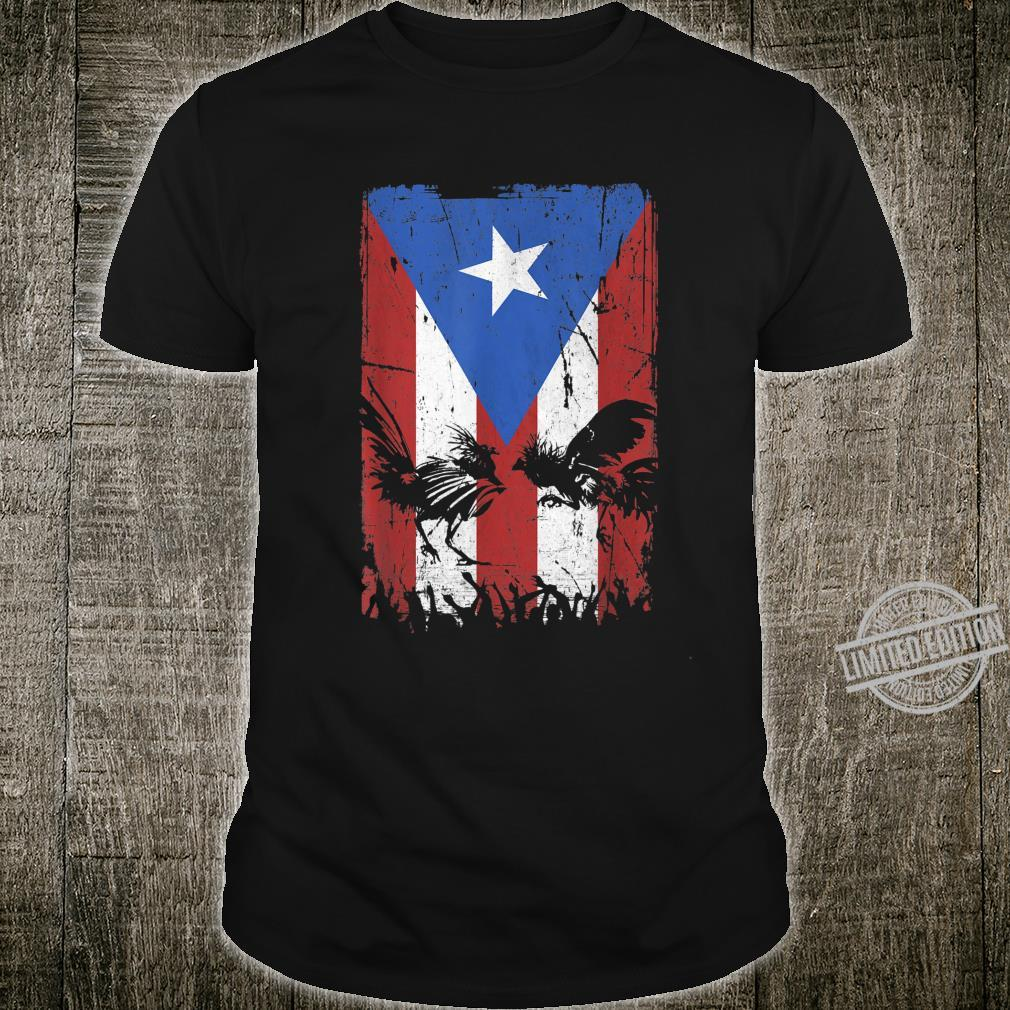 Cock Fight Gallos Gallero Fighting Rooster Puerto Rico Flag Shirt