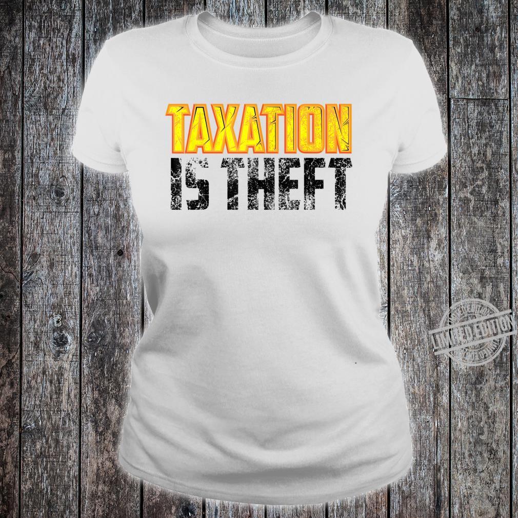 Cute Libertarian Anarchist Taxation Is Theft Shirt ladies tee