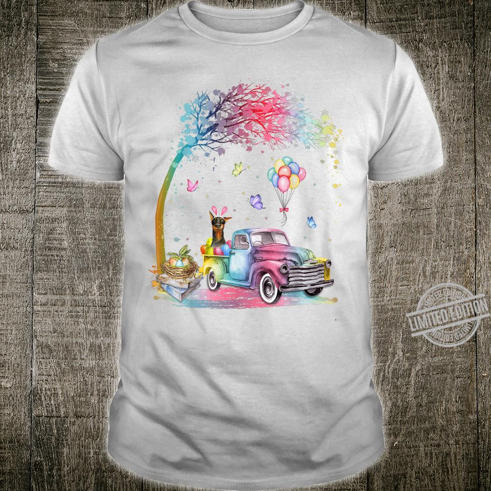 Cute Truck Pickup Bunny Doberman Dog Easter Shirt
