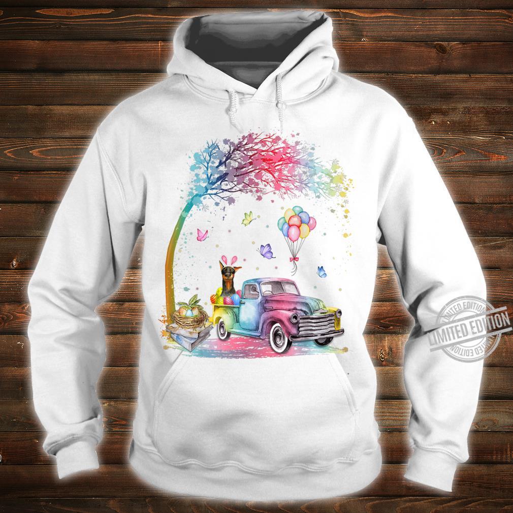 Cute Truck Pickup Bunny Doberman Dog Easter Shirt hoodie