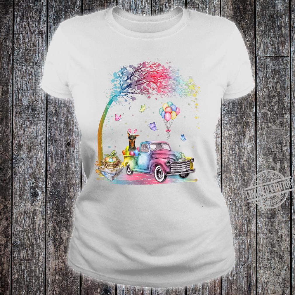 Cute Truck Pickup Bunny Doberman Dog Easter Shirt ladies tee