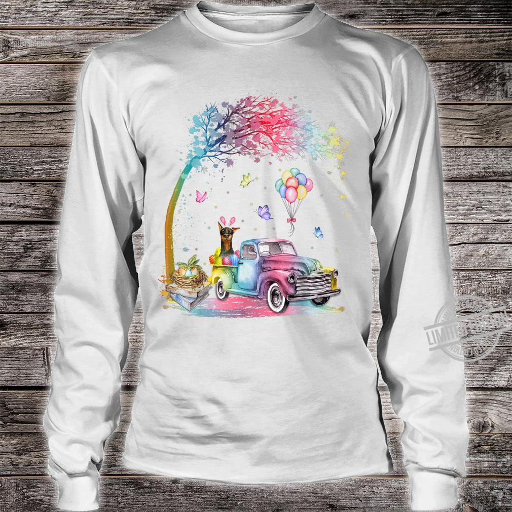 Cute Truck Pickup Bunny Doberman Dog Easter Shirt long sleeved