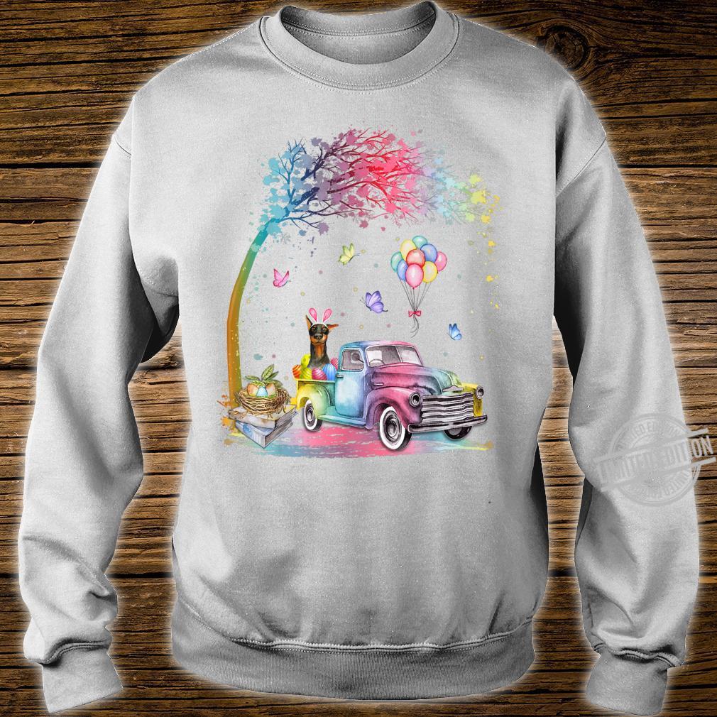 Cute Truck Pickup Bunny Doberman Dog Easter Shirt sweater