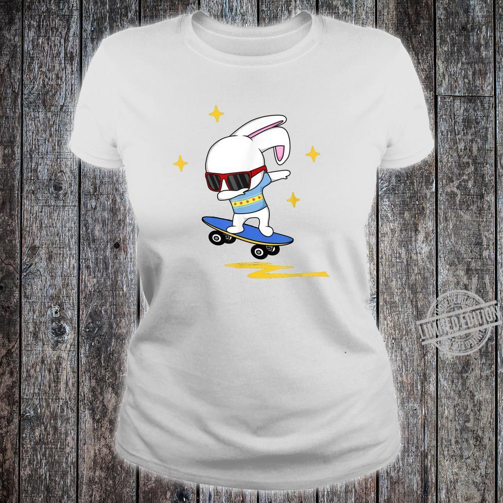 Dabbing Easter Bunny Rabbit Novelty Skater Jump And Flip Shirt ladies tee