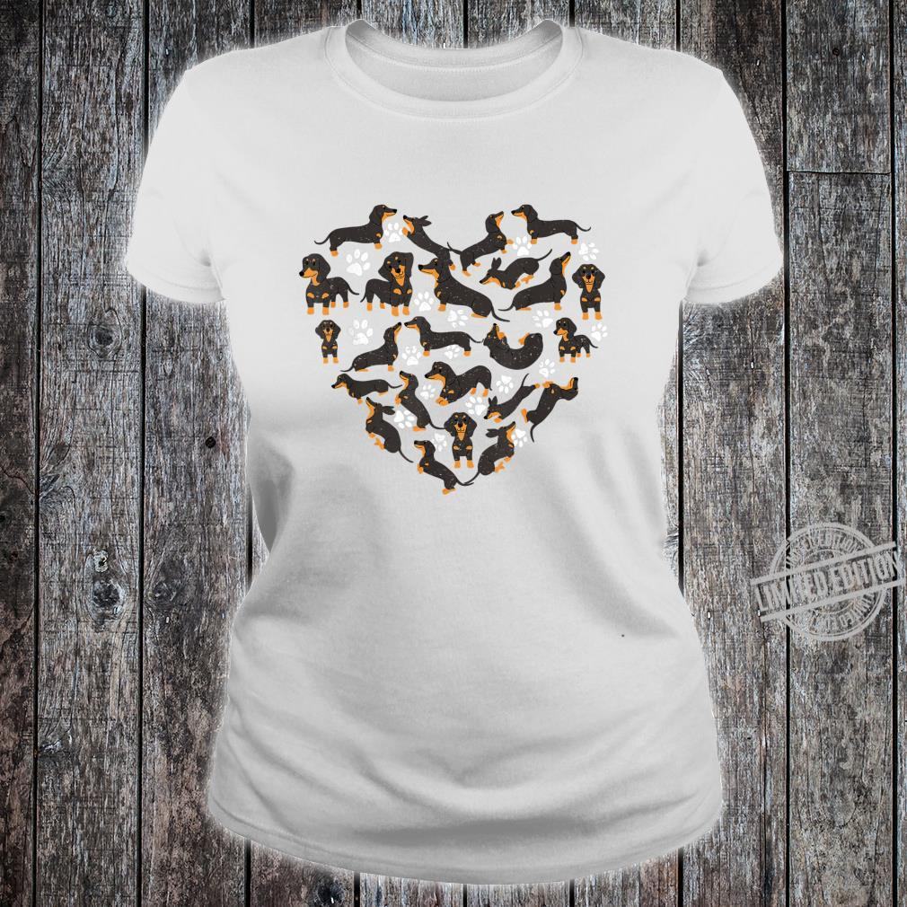 Dachshund Dogs Heart Valentine's Day Dogs Shirt ladies tee
