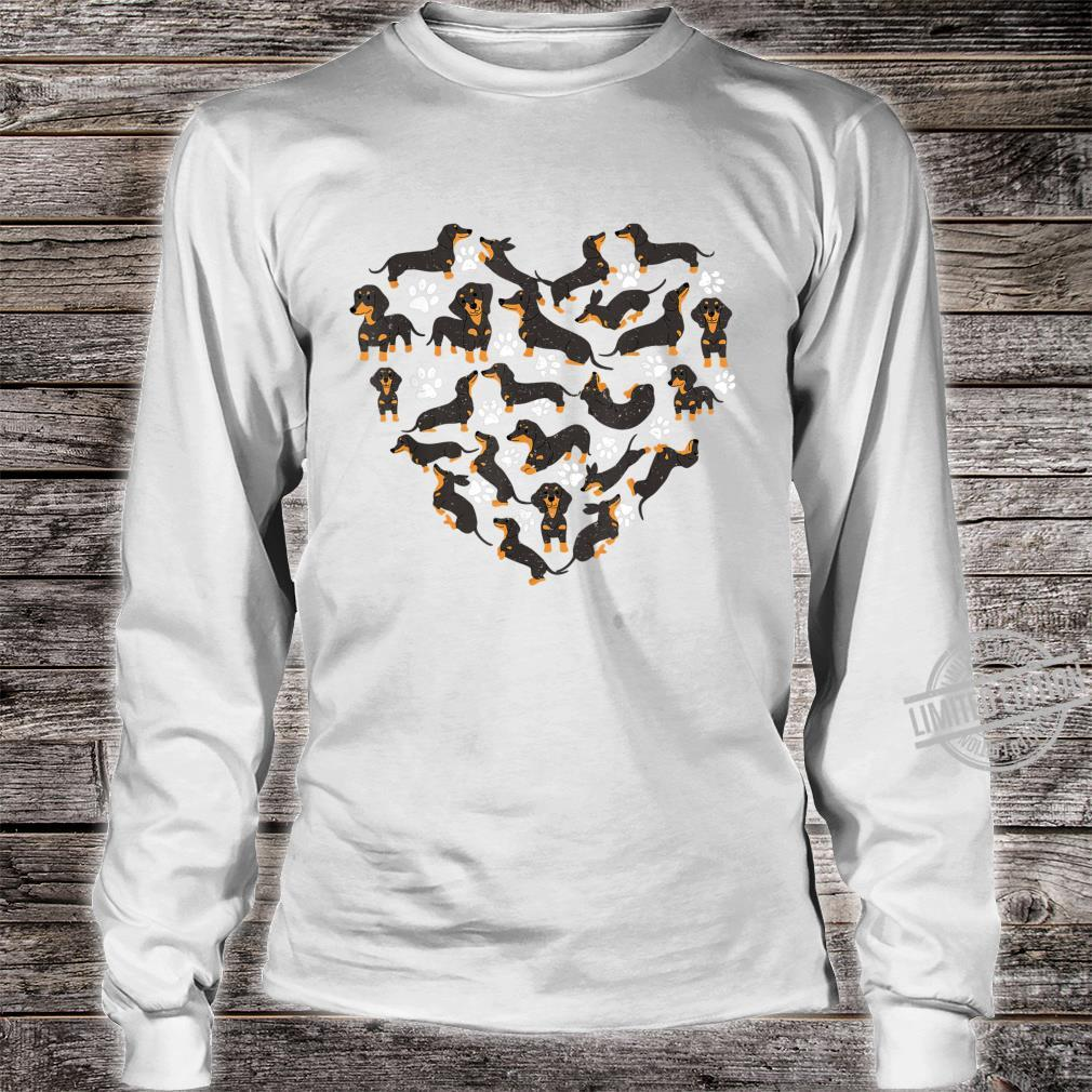 Dachshund Dogs Heart Valentine's Day Dogs Shirt long sleeved