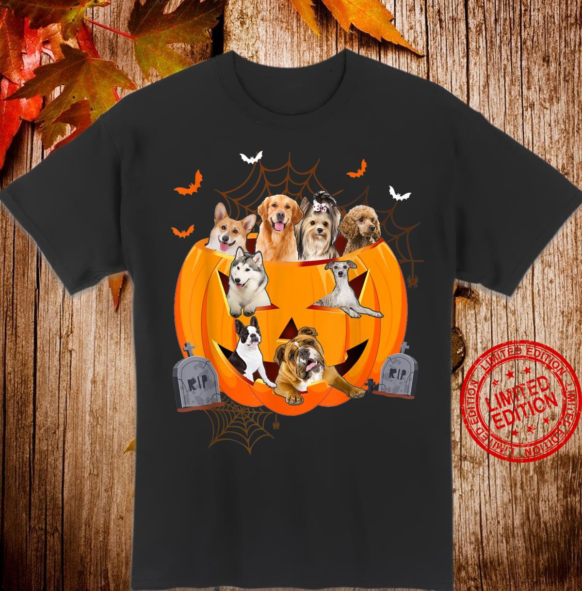 Funny Dogs In Carved Pumpkin Matching Halloween Dog Shirt