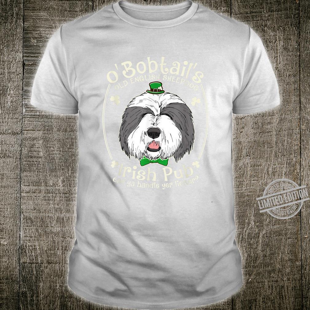 Funny English Sheepdog Shamrock Irish Pub Patrick Shirt