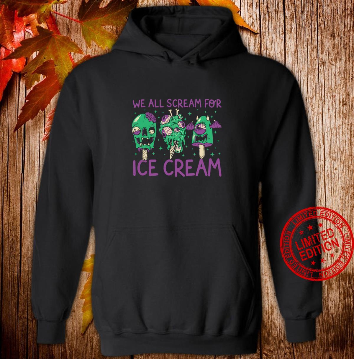 Funny Ice Cream Monster Zombie Halloween Shirt hoodie