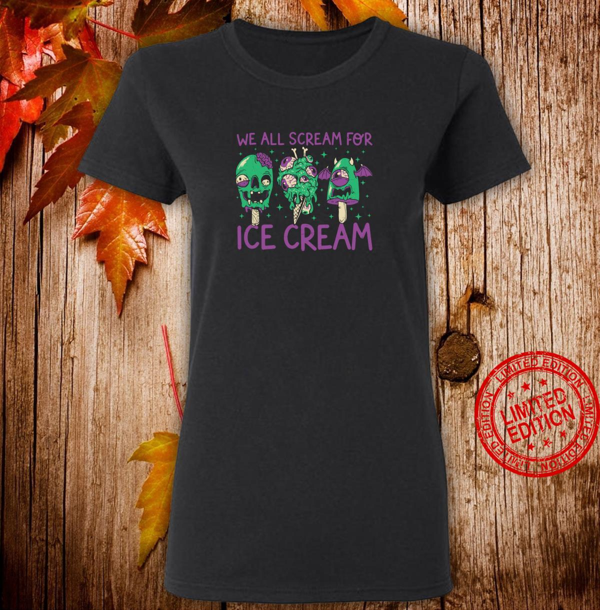 Funny Ice Cream Monster Zombie Halloween Shirt ladies tee