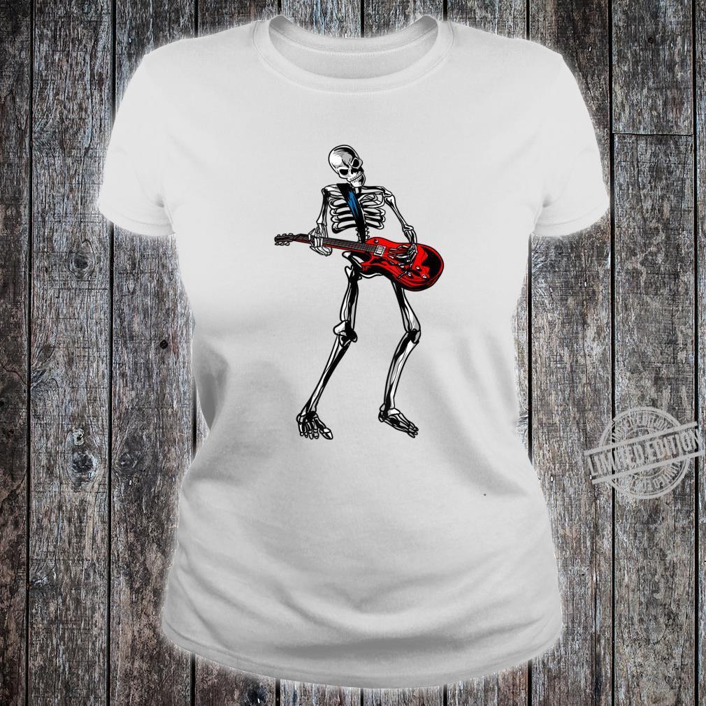 Funny Skeleton Playing Guitar Cool Rock Guitarist Fan Shirt ladies tee