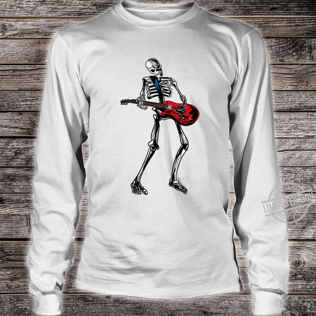 Funny Skeleton Playing Guitar Cool Rock Guitarist Fan Shirt long sleeved