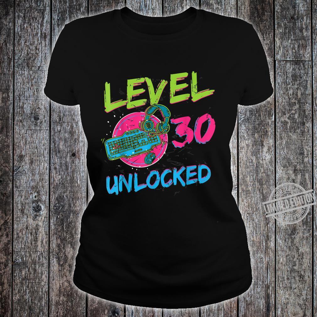Gamer Level 30 Unlocked Birthday WASD PC Video Gaming Shirt ladies tee