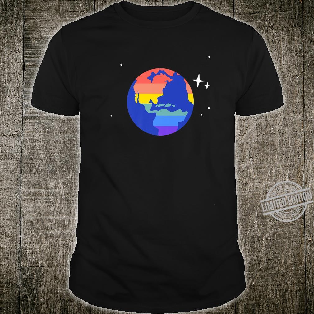 Gay & Lesbian Planet Earth LGBTQ Pride Flag Aesthetic Space Shirt