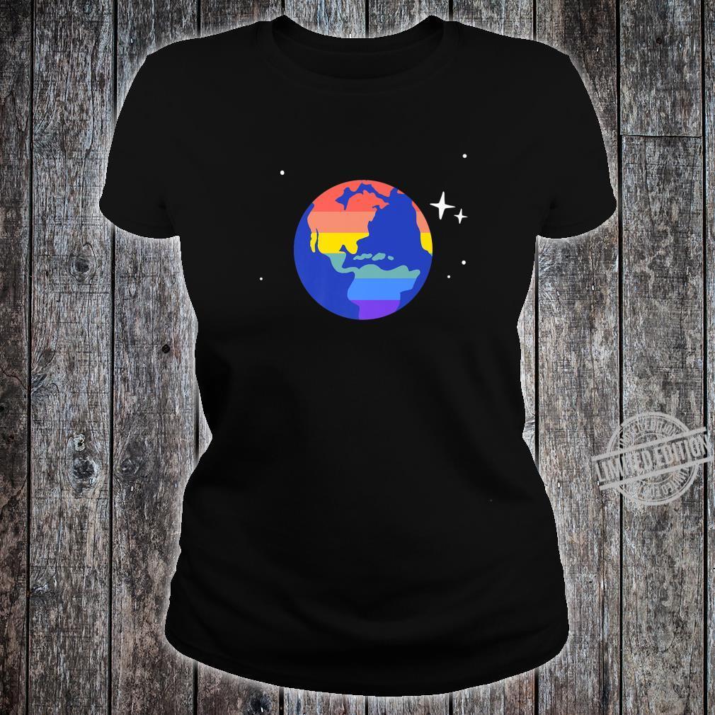 Gay & Lesbian Planet Earth LGBTQ Pride Flag Aesthetic Space Shirt ladies tee