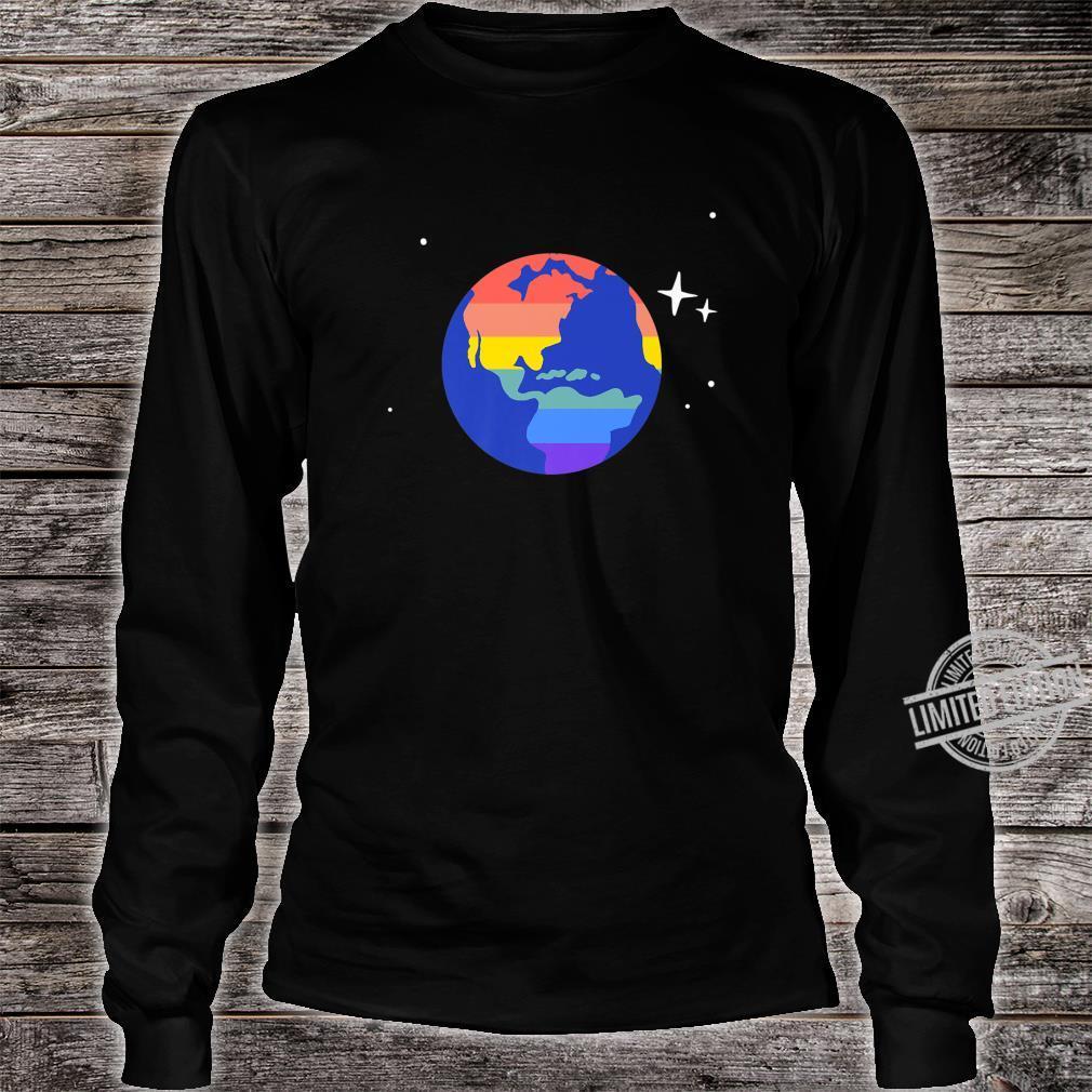 Gay & Lesbian Planet Earth LGBTQ Pride Flag Aesthetic Space Shirt long sleeved