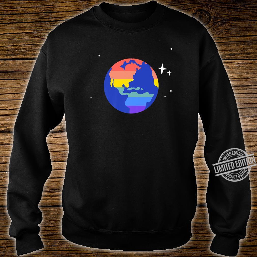 Gay & Lesbian Planet Earth LGBTQ Pride Flag Aesthetic Space Shirt sweater