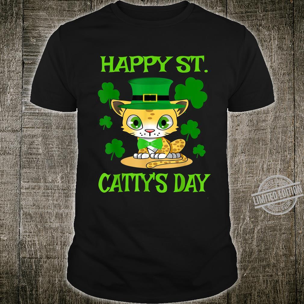 Happy St. Catty's Day Cute Cat Shamrock St. Pattys Day Shirt