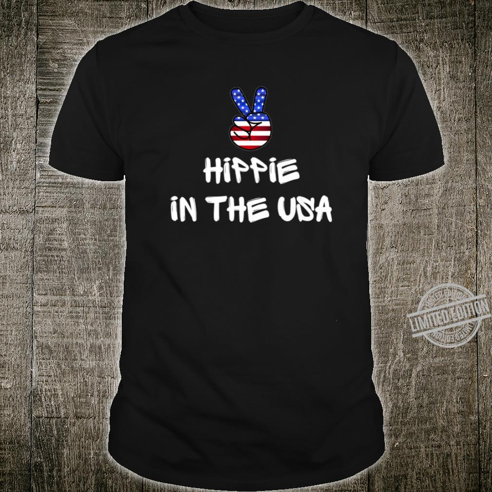 Hippie Peace Sign Patriotic USA Flag July 4th America Party Shirt