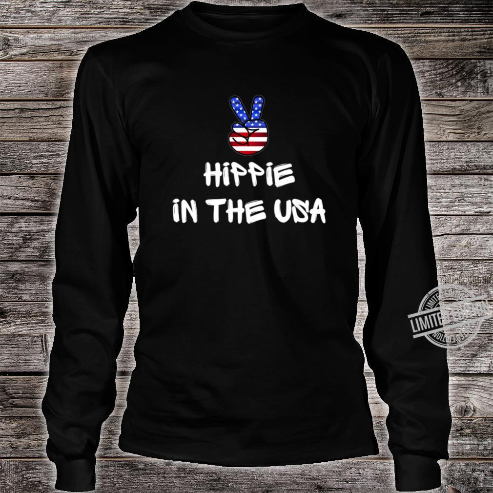 Hippie Peace Sign Patriotic USA Flag July 4th America Party Shirt long sleeved