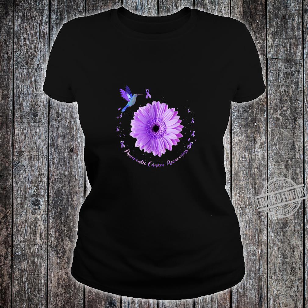 Hummingbird Purple Sunflower Pancreatic Cancer Awareness Shirt ladies tee