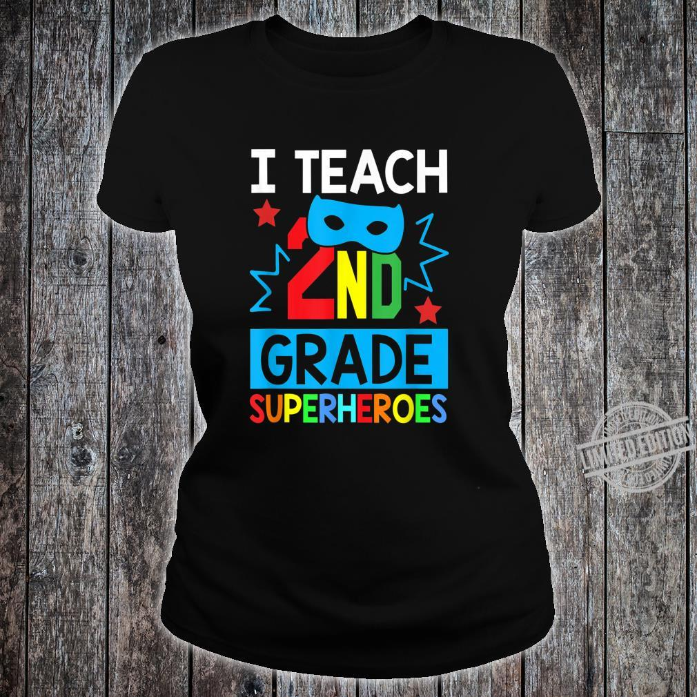 I Teach 2ND Grade Superheroes Summer Super Teacher Shirt ladies tee