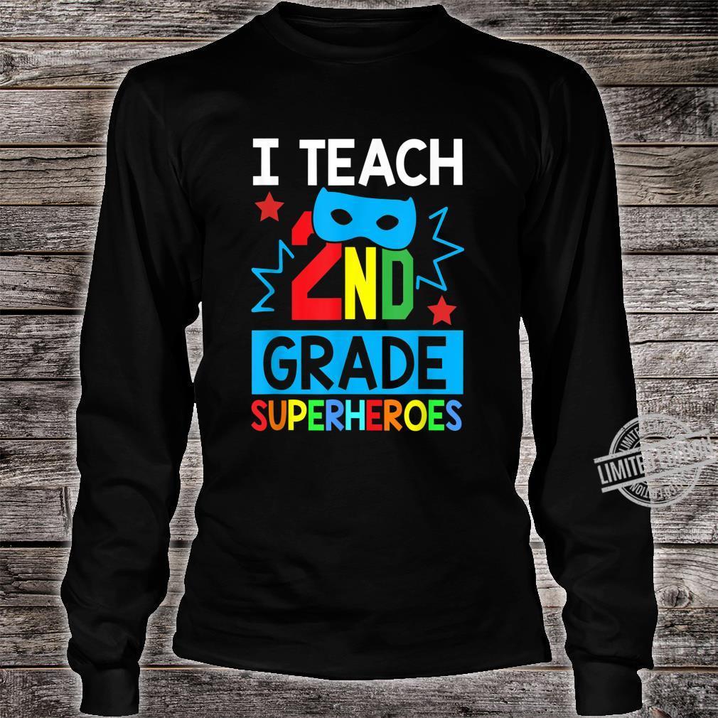 I Teach 2ND Grade Superheroes Summer Super Teacher Shirt long sleeved