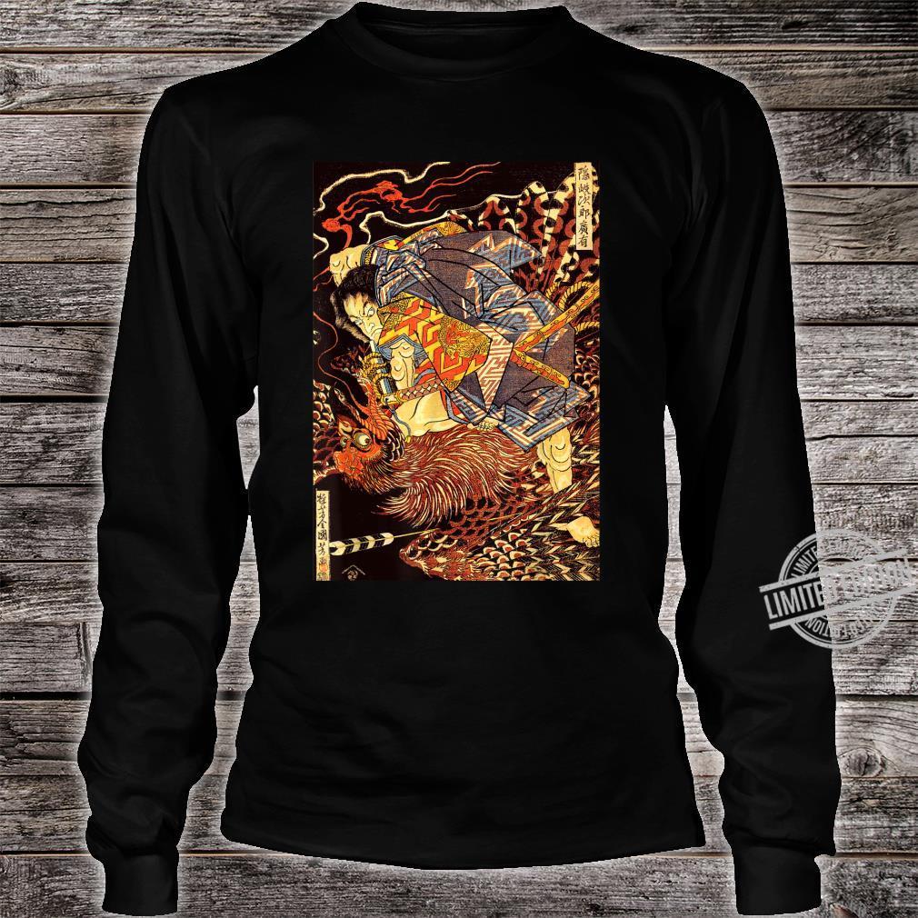 Japanese Vintage Artwork Samurai Against The Phoenix Art Shirt long sleeved