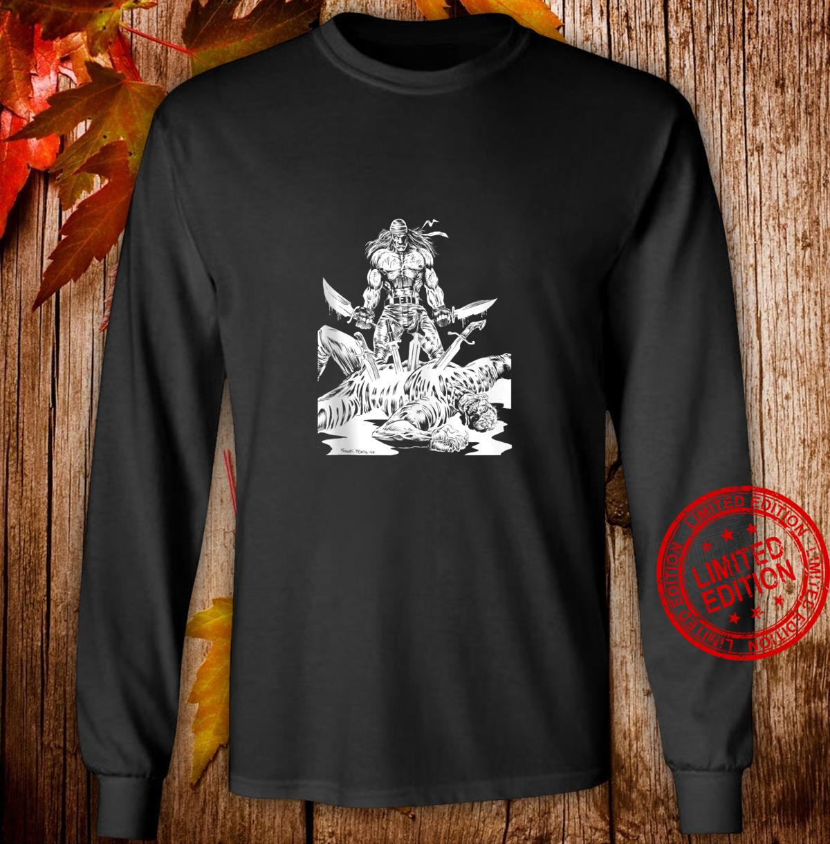 KNIFE MAN Vintage Zombies Undead Illustrated Horror Shirt long sleeved