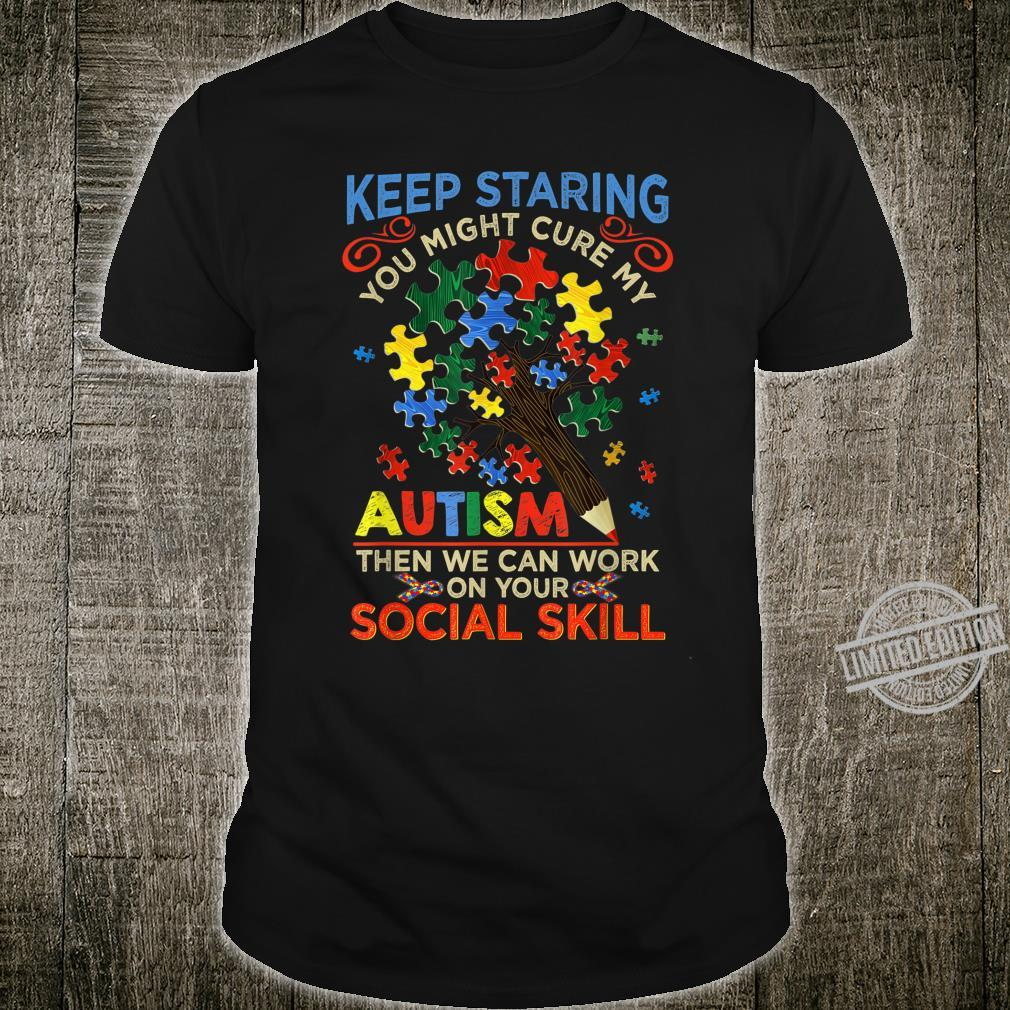 Keep Staring You Might Cure My Autism Heart Puzzle Shirt