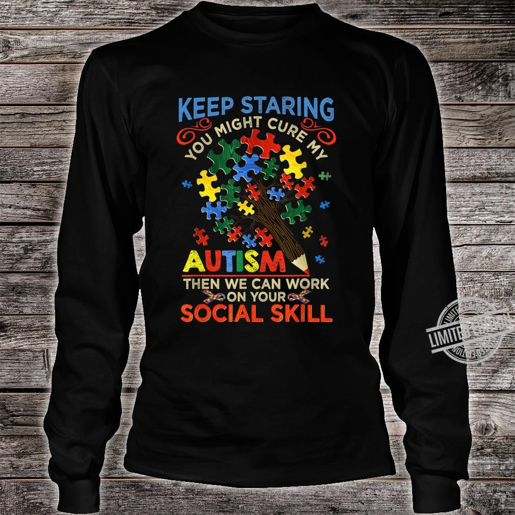 Keep Staring You Might Cure My Autism Heart Puzzle Shirt long sleeved