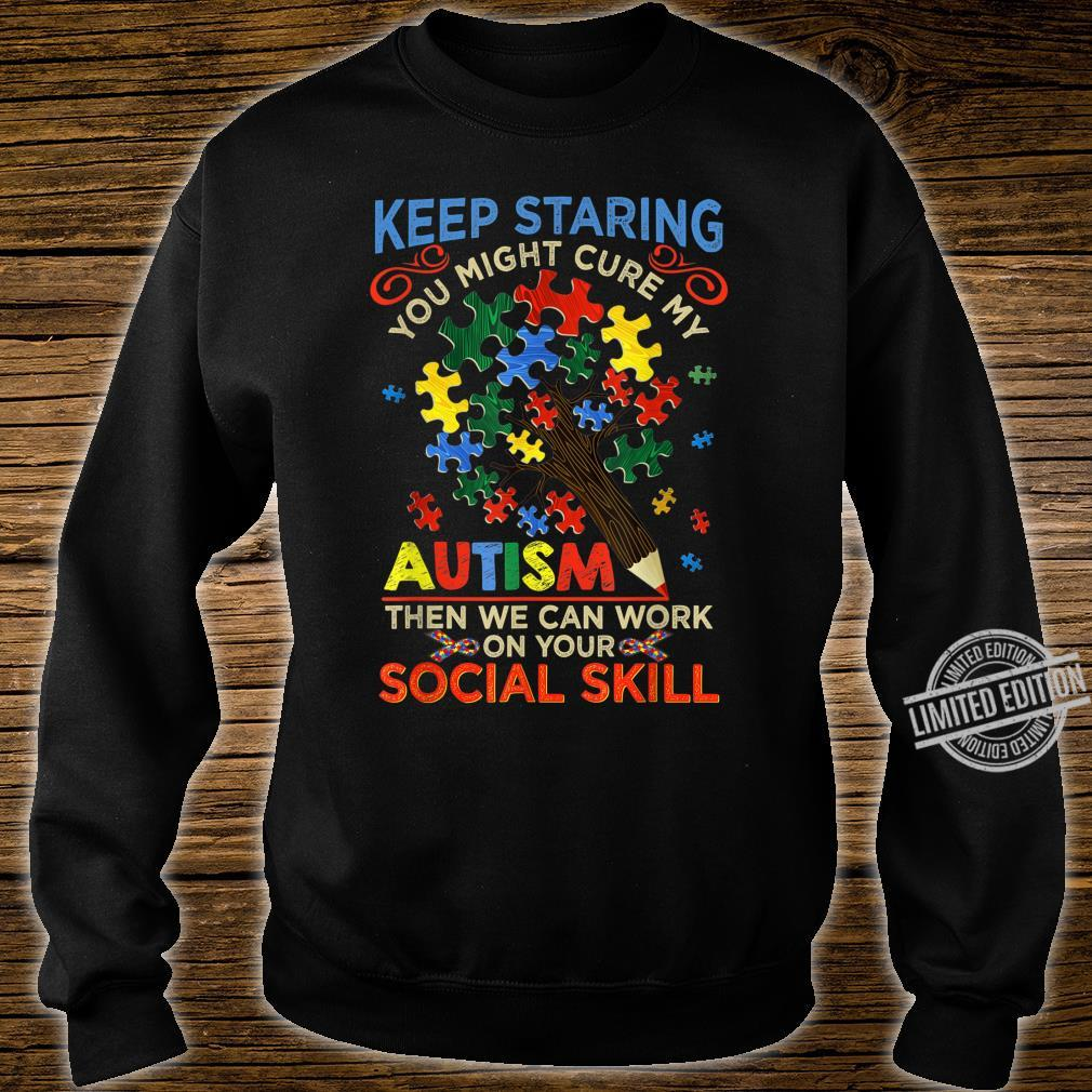 Keep Staring You Might Cure My Autism Heart Puzzle Shirt sweater