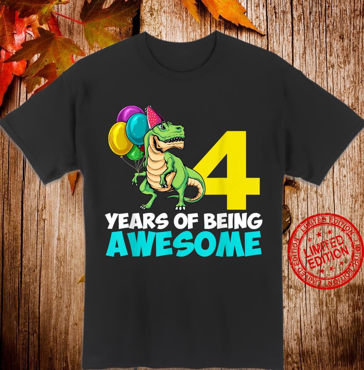 Kids 4 Year Old 4th Birthday Boy Girl T Rex Dinosaur Shirt