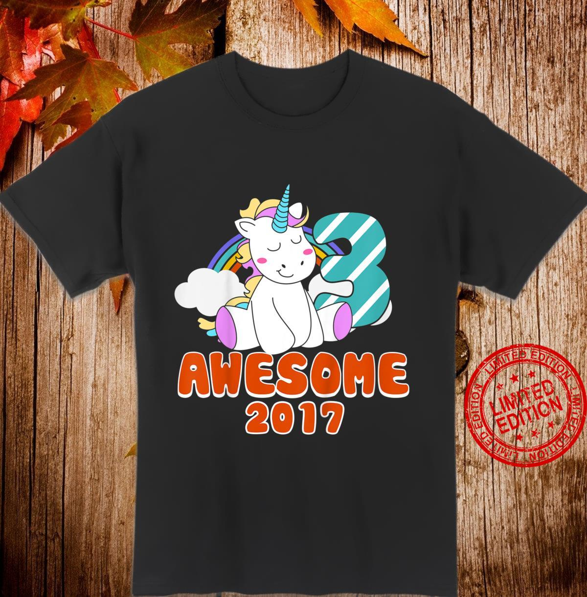 Kids Awesome since 2017 Birthday Unicorn 3 Years Old Party 3rd Shirt