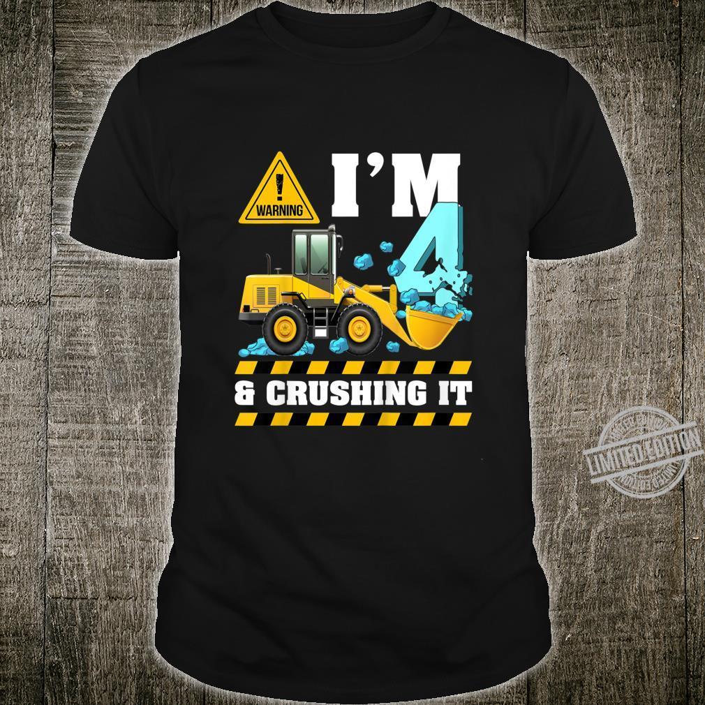 Kids Construction Truck 4th Birthday Shirt Boy 4 Bulldozer Digger Shirt