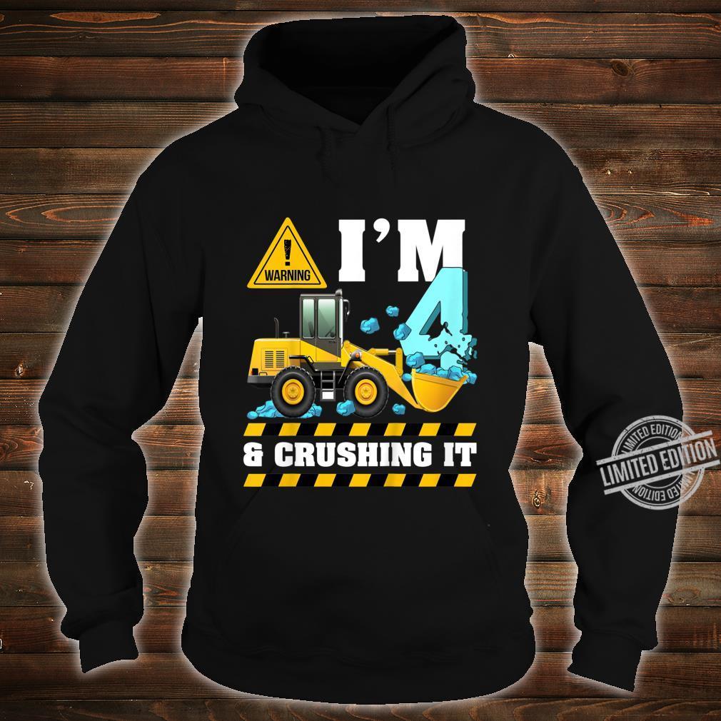 Kids Construction Truck 4th Birthday Shirt Boy 4 Bulldozer Digger Shirt hoodie