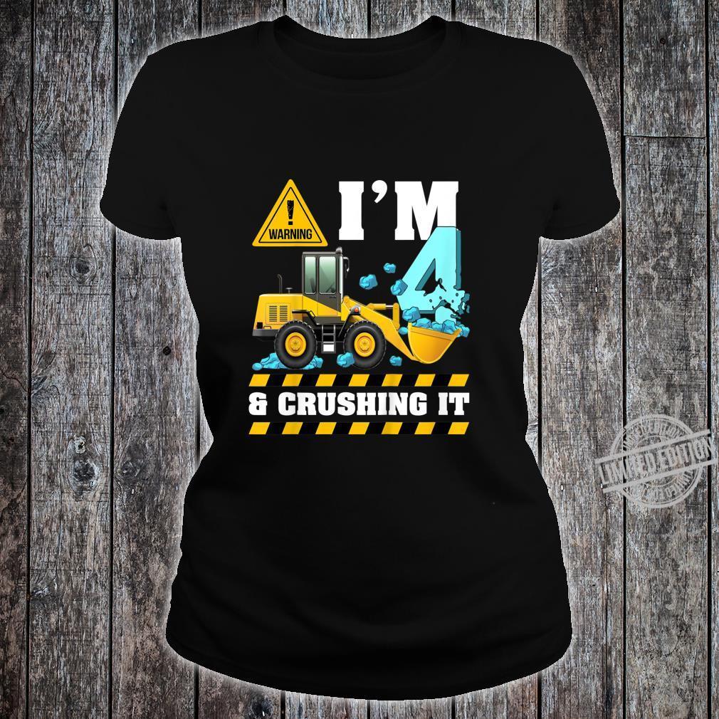 Kids Construction Truck 4th Birthday Shirt Boy 4 Bulldozer Digger Shirt ladies tee