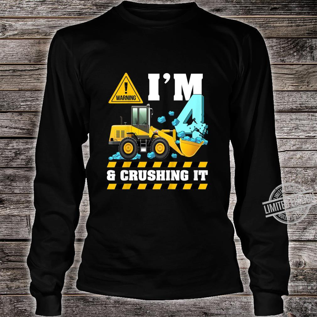 Kids Construction Truck 4th Birthday Shirt Boy 4 Bulldozer Digger Shirt long sleeved