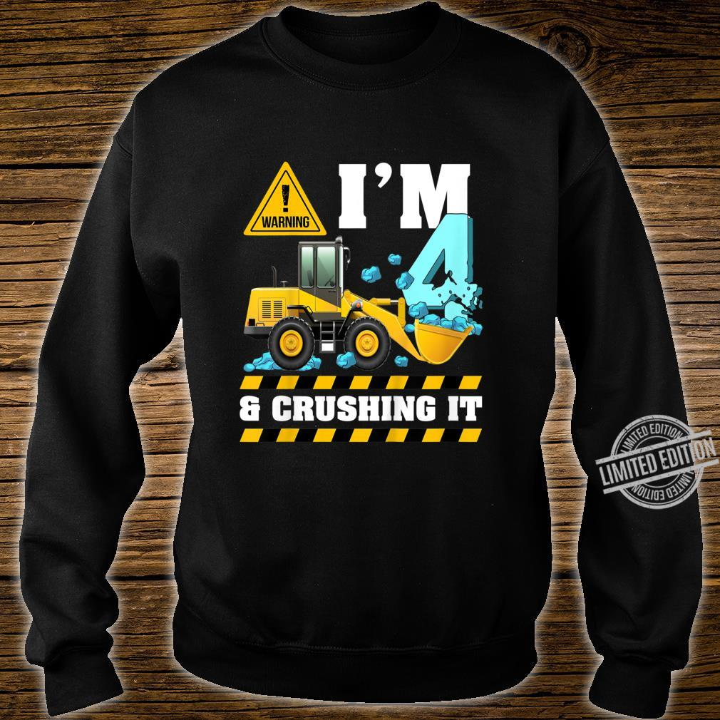 Kids Construction Truck 4th Birthday Shirt Boy 4 Bulldozer Digger Shirt sweater