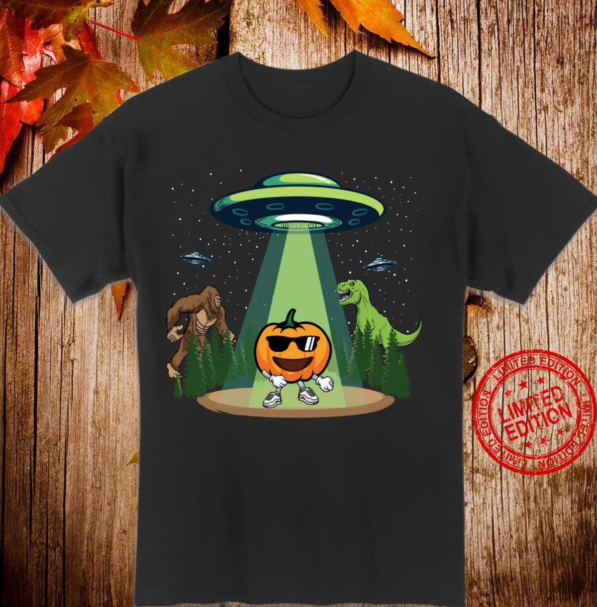 Kürbis Zahnseide Tanz Halloween Bigfoot Dinosaurier UFO Art Langarmshirt Shirt