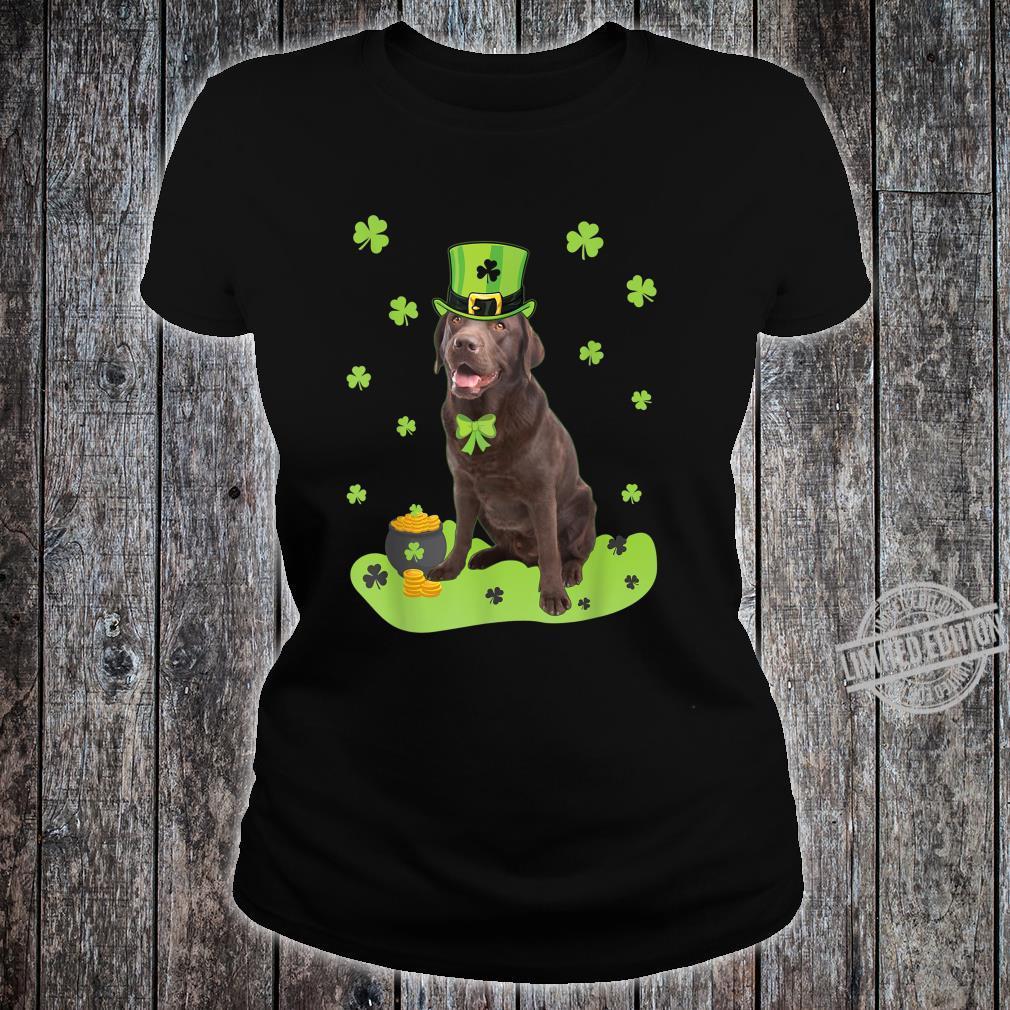 Labrador Retriever Shamrock St. Patricks Day Dog Shirt ladies tee